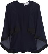 Esteban Cortazar Cape-effect cady-trimmed silk-chiffon blouse