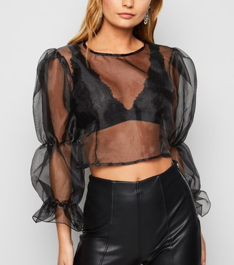 New Look Cameo Rose Organza Puff Sleeve Top