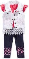 Nannette 3-Pc. Denim Vest, Lace Top & Leggings Set, Baby Girls (0-24 months)
