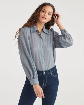 7 For All Mankind Puff Sleeve Button Up Shirt in Blue Haze