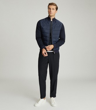 Reiss Freddie - Hybrid Zip Through Quilted Jumper in Navy