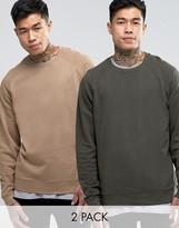 Asos Sweatshirt 2 Pack Beige/ Khaki