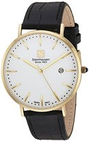 Steinhausen Men's 'Burgdorf' Swiss Quartz Stainless Steel and Leather Dress Watch, Color:Black (Model: S0521)