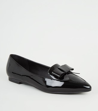 New Look Patent Bow Pointed Toe Loafers