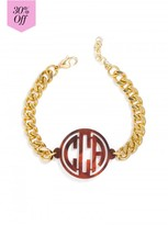 BaubleBar Acrylic Monogram Curb Bracelet