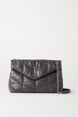 Saint Laurent Loulou Quilted Leather Shoulder Bag - Dark gray