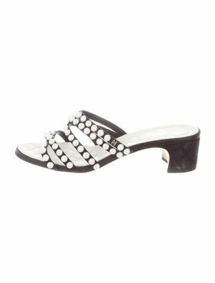 Chanel Faux Pearl Accents Leather Slides Black