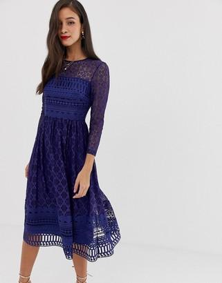 Asos Design DESIGN Premium lace midi skater dress-Navy