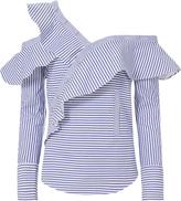 Self-Portrait Pinstriped Poplin Asymmetrical Ruffle Shirt Pattern ZERO