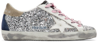 Golden Goose Silver and White Glitter Superstar Sneakers