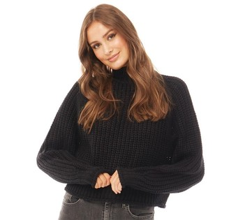 Brave Soul Womens Bianca Chunky Fishermans Knit High Neck Jumper Black