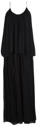 Elizabeth and James Black Silk Chiffon Mael Blouson Maxi Dress M