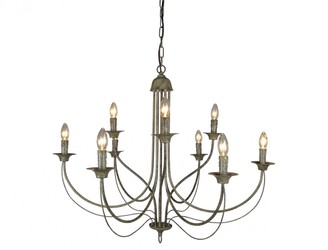One World 9 Arm Taupe Chandelier