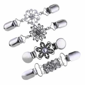 Lazder 4 Pcs/set Retro Sweater Shawl Dress Cardigan Clip Neckline Clips Flower Pattern Collar Buckle For Charm Lady Girls Women Decorations