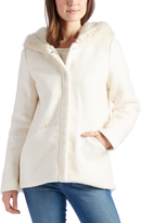 Laundry by Shelli Segal Ivory Faux Fur Hooded Wool-Blend Jacket