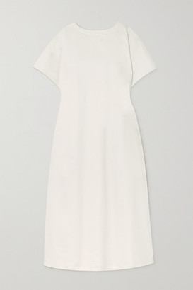 KING & TUCKFIELD Gathered Open-back Organic Cotton-twill Maxi Dress - White