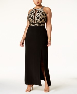 Night Way Nightway Plus Size Illusion-Inset Gown
