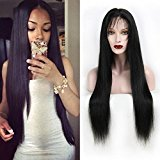 Echo Beauty Glueless Silky Straight Peruvian Virgin Human Hair Lace Front Wig for Women 130% Density 18inch Long Natural Black Color Medium Cap Medium Brown Lace