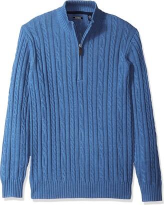 Izod Men's Premium Essentials Solid Quarter Zip 7 Gauge Cable Knit Sweater