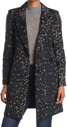 Kensie Leopard Button Front Coat