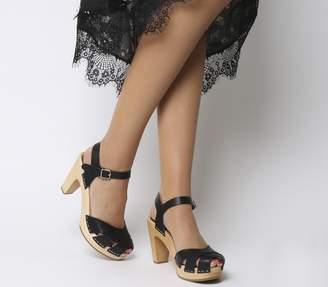 Swedish Hasbeens Suzanne Hi Peep Toe Sandals Black