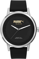 Puma Black Dial Black Suede Strap Watch
