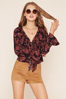 Forever 21 Paisley Lace-Up Top