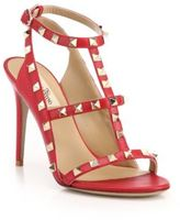 Valentino Rockstud Leather T-Strap Sandals