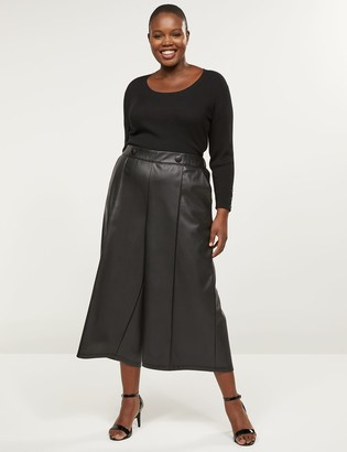 Lane Bryant Faux Leather Wide Leg Crop With Button Waist