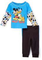 Children's Apparel Network Blue Mickey & Pluto Knit Layered Tee & Pants - Infant