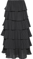 Caroline Constas Margi Picot-trimmed Tiered Cotton-voile Midi Skirt - Black
