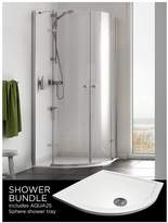 Aqualux Origin Quadrant And Aq25 Shower Tray Pack 800 X 800mm