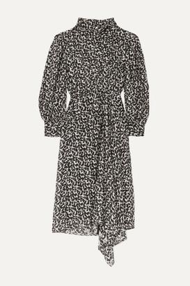 Isabel Marant Julinea Asymmetric Floral-print Fil Coupe Chiffon Midi Dress - Black