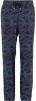 Giorgio Armani Slim-Fit Printed Matte-Satin Drawstring Trousers