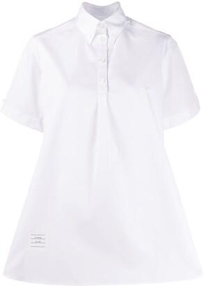 Thom Browne Logo-Patch Flared Shirt