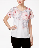 Alfred Dunner Petite Rose Hill Embellished Printed Top