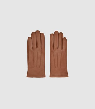Reiss Belle - Leather Gloves in Camel