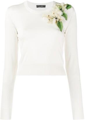 Dolce & Gabbana floral appliqué sweater