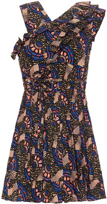 Ulla Johnson Flared Ruffled Printed Cotton-blend Mini Dress
