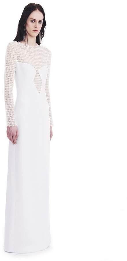 Alexander Wang LONG SLEEVED COLUMN GOWN WITH /FRONT LACE PANEL
