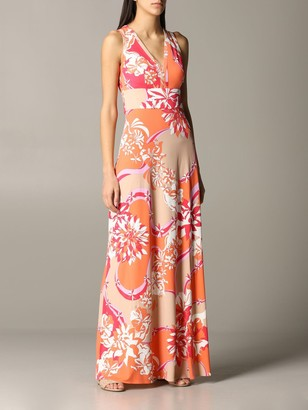 Emilio Pucci Long Dress In Jersey With Vahineacute; Print