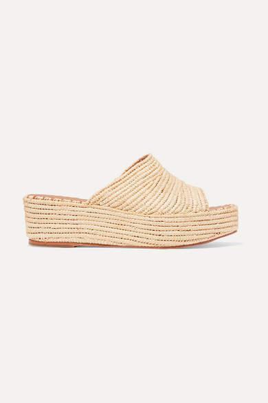 BEIGE Carrie Forbes - Karim Woven Raffia Wedge Sandals