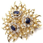 Buccellati 18K Yellow Gold Diamond Sapphire Large Pin Brooch