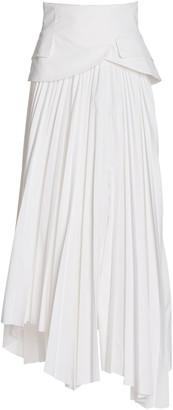 A.W.A.K.E. Mode Peplum-Detailed Pleated Cotton Twill Maxi Skirt