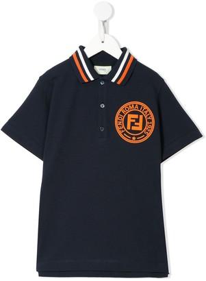 Fendi Kids circle FF patch polo shirt