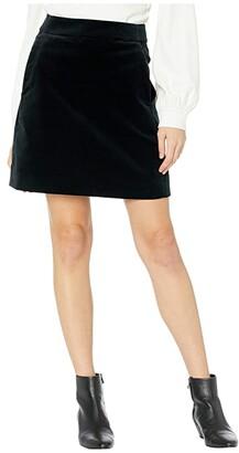 J.Crew Velvet Midi Skirt (Black) Women's Skirt