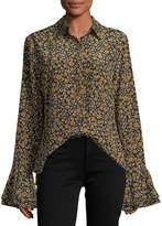 Derek Lam 10 Crosby Long-Sleeve Button-Front Printed Blouse w/ Ruffle Cuffs