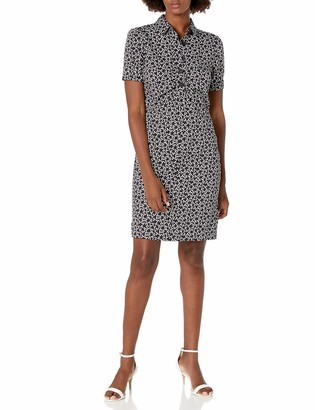 Lark & Ro Women's Florence Short Sleeve Collar Ruched Front Sheath Shirt Dress
