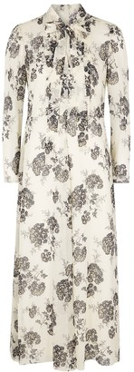 RED Valentino Cream floral-print silk midi dress