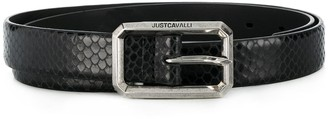 Just Cavalli Snakeskin-Effect Buckle Belt